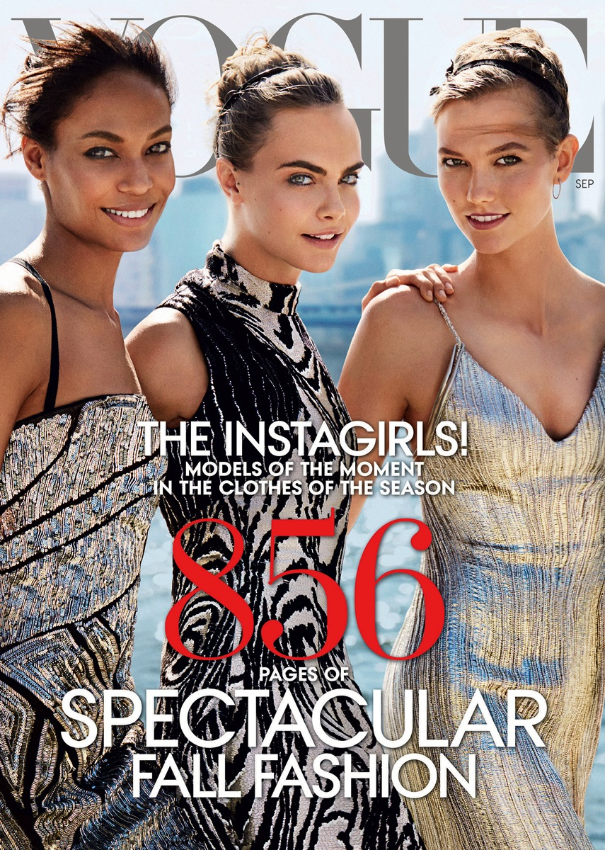 Joan Smalls, Karlie Kloss and Cara Delevingne full cover of September 2014 Vogue US