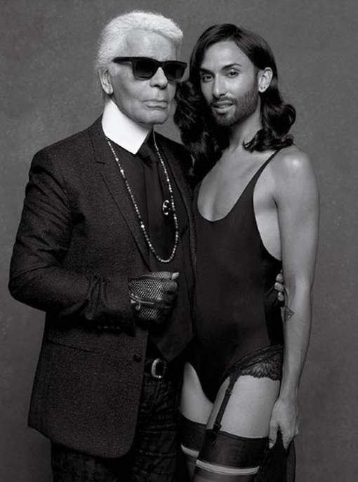 Conchita Wurst and Ashleigh Good by Karl Lagerfeld